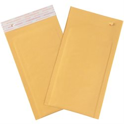 "4 x 8"" Kraft (25 Pack) #000 Self-Seal Bubble Mailers w/Tear Strip"