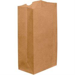 """6 1/8 x 4 x 12 3/8"""" Kraft Grocery Bags"""