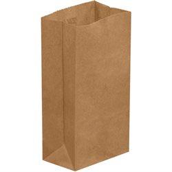 """3 1/2 x 2 3/8 x 6 7/8"""" Kraft Grocery Bags"""