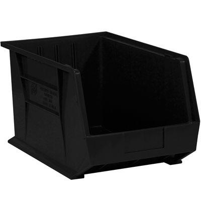 "10 3/4 x 8 1/4 x 7"" Black Plastic Stack & Hang Bin Boxes"