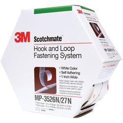 "1"" x 15' White 3M MP3526N/MP3527N Scotchmate™ Combo Pack Fasteners"