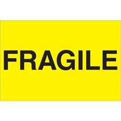 """2 x 3"""" - """"Fragile"""" (Fluorescent Yellow) Labels"""