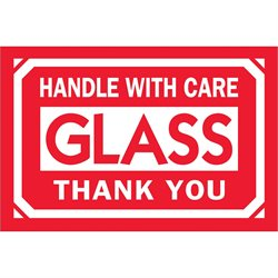 """2 x 3"""" - """"Glass - Handle With Care - Thank You"""" Labels"""