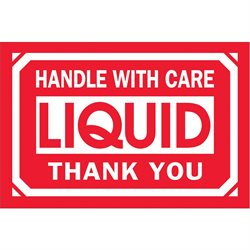 """2 x 3"""" - """"Handle With Care - Liquid - Thank You"""" Labels"""