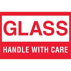 """2 x 3"""" - """"Glass - Handle With Care"""" Labels"""