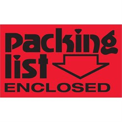 """3 x 5"""" - """"Packing List Enclosed"""" (Fluorescent Red) Labels"""
