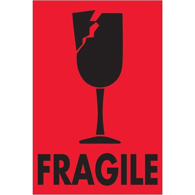 """2 x 3"""" - """"Fragile"""" (Fluorescent Red) Labels"""
