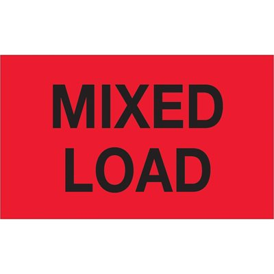 """3 x 5"""" - """"Mixed Load"""" (Fluorescent Red) Labels"""