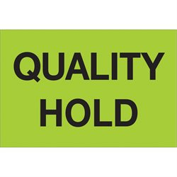 "2 x 3"" - ""Quality Hold"" (Fluorescent Green) Labels"