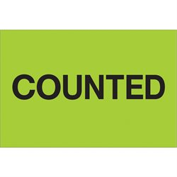 "2 x 3"" - ""Counted"" (Fluorescent Green) Labels"