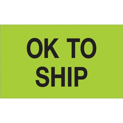 """3 x 5"""" - """"OK To Ship"""" (Fluorescent Green) Labels"""