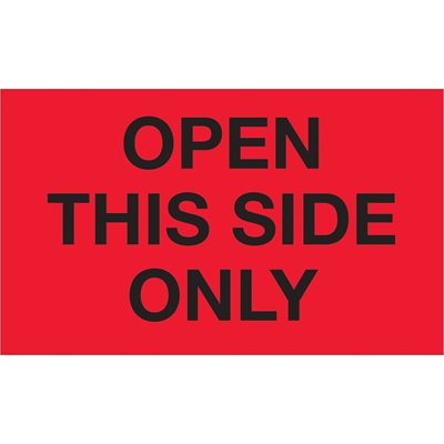 """3 x 5"""" - """"Open This Side Only"""" (Fluorescent Red) Labels"""