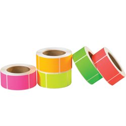 "3 x 5"" Fluorescent Packs Inventory Rectangle Labels"