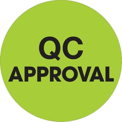 """1"""" Circle - """"QC Approval"""" Fluorescent Green Labels"""