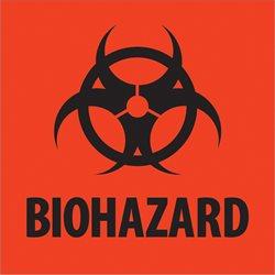 """4 x 4"""" - """"Biohazard"""" Fluorescent Red Labels"""