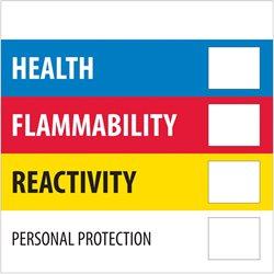 "4 x 4"" - ""Health Flammability Reactivity"""