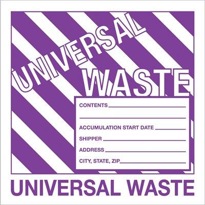 "6 x 6"" - ""Universal Waste"" Labels"