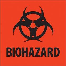 """2 x 2"""" - """"Biohazard"""" Fluorescent Red Labels"""