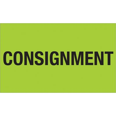 """3 x 5"""" - """"Consignment"""" (Fluorescent Green) Labels"""