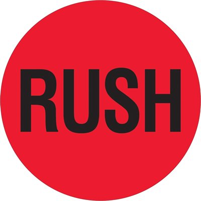 """2"""" Circle - """"Rush"""" (Fluorescent Red) Labels"""