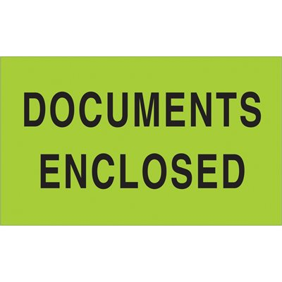 """3 x 5"""" - """"Documents Enclosed"""" (Fluorescent Green) Labels"""