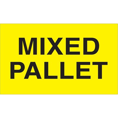 """3 x 5"""" - """"Mixed Pallet"""" (Fluorescent Yellow) Labels"""
