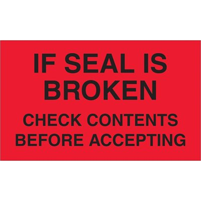 """3 x 5"""" - """"Check Contents Before Accepting"""" (Fluorescent Red) Labels"""