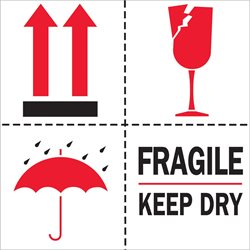 "4 x 4"" - ""Fragile - Keep Dry"" Labels"