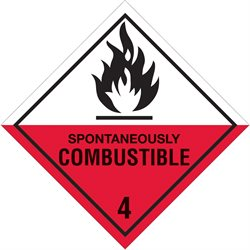 """4 x 4"""" - """"Spontaneously Combustible - 4"""" Labels"""