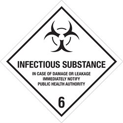 """4 x 4"""" - """"Infectious Substance - 6"""" Labels"""