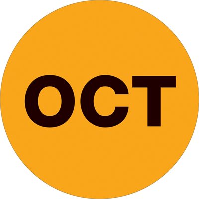 """1"""" Circle - """"OCT"""" (Fluorescent Orange) Months of the Year Labels"""