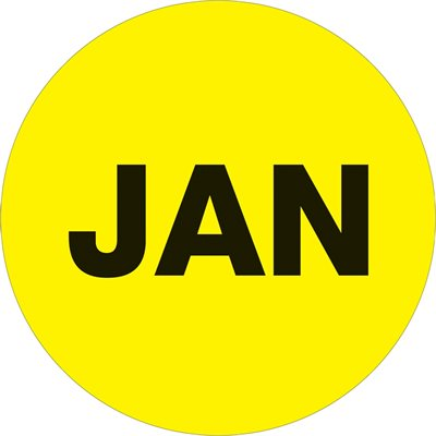"""2"""" Circle - """"JAN"""" (Fluorescent Yellow) Months of the Year Labels"""