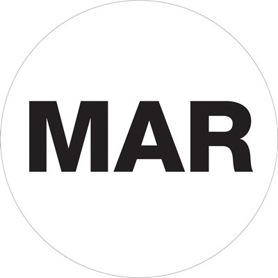 """2"""" Circle - """"MAR"""" (White) Months of the Year Labels"""