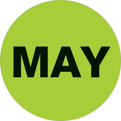 """2"""" Circle - """"MAY"""" (Fluorescent Green) Months of the Year Labels"""