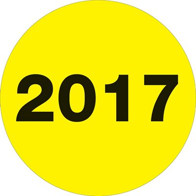 """2"""" Circle - """"2017"""" (Fluorescent Yellow) Year Labels"""