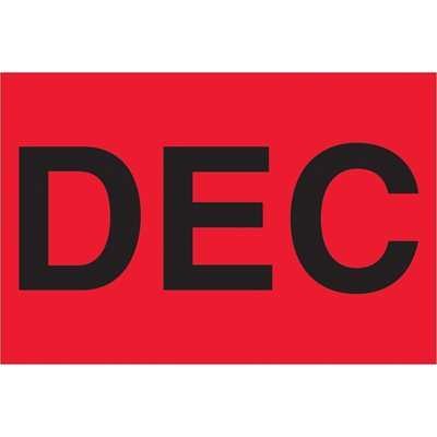 """2 x 3"""" - """"DEC"""" (Fluorescent Red) Months of the Year Labels"""