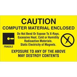 "3 x 5"" - ""Computer Material Enclosed"" Labels"