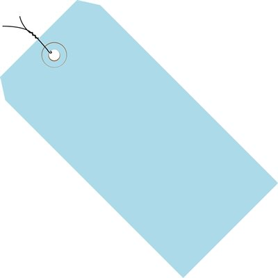 """2 3/4 x 1 3/8"""" Light Blue 13 Pt. Shipping Tags - Pre-Wired"""