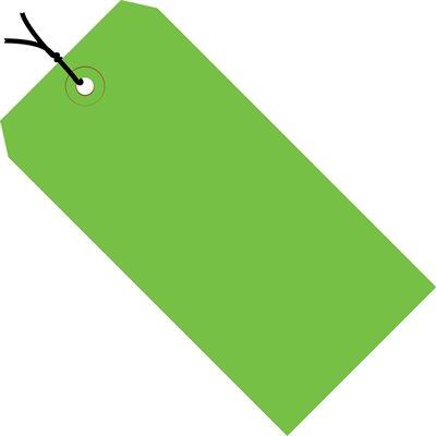"4 1/4 x 2 1/8"" Green 13 Pt. Shipping Tags - Pre-Strung"
