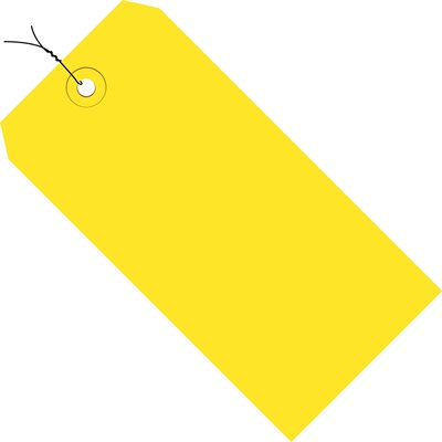 """5 1/4 x 2 5/8"""" Yellow 13 Pt. Shipping Tags - Pre-Wired"""