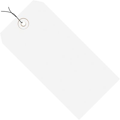"""8 x 4"""" White 13 Pt. Shipping Tags - Pre-Wired"""