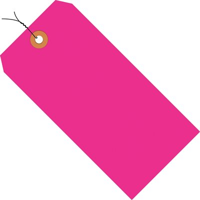 """2 3/4 x 1 3/8"""" Fluorescent Pink 13 Pt. Shipping Tags - Pre-Wired"""