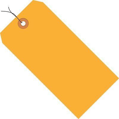 """3 1/4 x 1 5/8"""" Fluorescent Orange 13 Pt. Shipping Tags - Pre-Wired"""