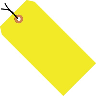 """4 1/4 x 2 1/8"""" Fluorescent Yellow 13 Pt. Shipping Tags - Pre-Strung"""