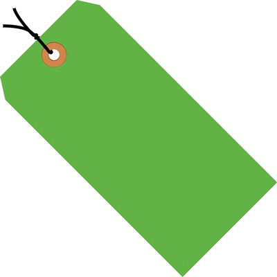 """5 1/4 x 2 5/8"""" Fluorescent Green 13 Pt. Shipping Tags - Pre-Strung"""