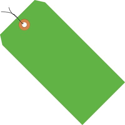 """5 1/4 x 2 5/8"""" Fluorescent Green 13 Pt. Shipping Tags - Pre-Wired"""