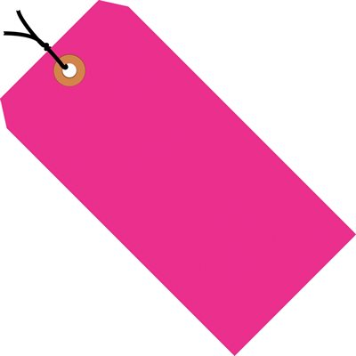 """6 1/4 x 3 1/8"""" Fluorescent Pink 13 Pt. Shipping Tags - Pre-Strung"""