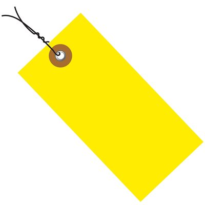 """4 1/4 x 2 1/8"""" Yellow Tyvek® Pre-Wired Shipping Tag"""
