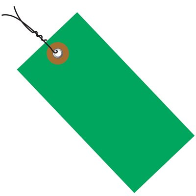 """4 3/4 x 2 3/8"""" Green Tyvek® Shipping Tags - Pre-Wired"""