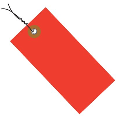 """4 3/4 x 2 3/8"""" Red Tyvek® Shipping Tags - Pre-Wired"""